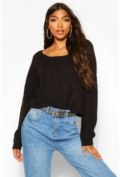 Womens Black Tall V Back Crop Jumper