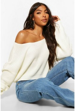 Womens Cream Tall V Back Crop Jumper