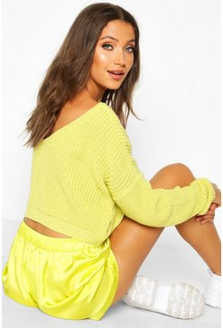 Womens Soft lime Tall V Back Crop Jumper