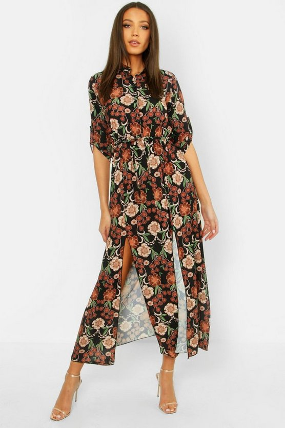Tall Floral Midaxi Shirt Dress