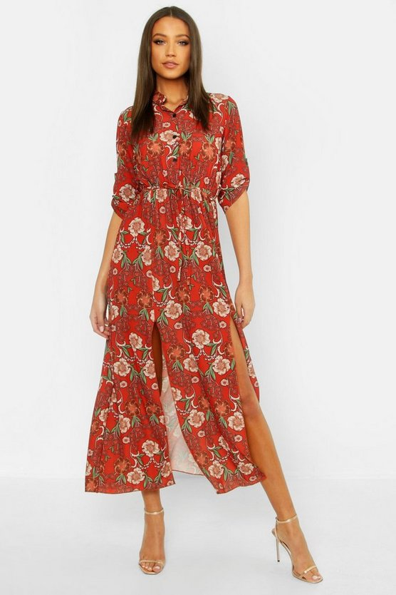 Womens Rust Tall Floral Midaxi Shirt Dress