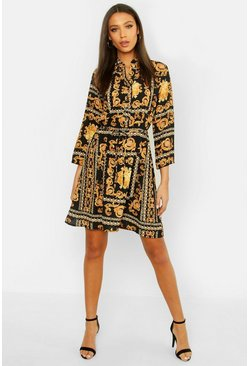 Womens Black Tall Chain Print Shirt Dress