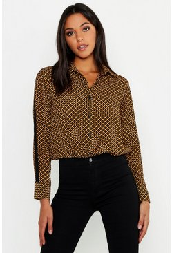 Womens Mustard Tall Geo Print Shirt