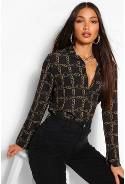 Womens Black Tall Chain Print Shirt