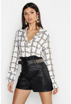 Womens Ivory Tall Chain Print Shirt