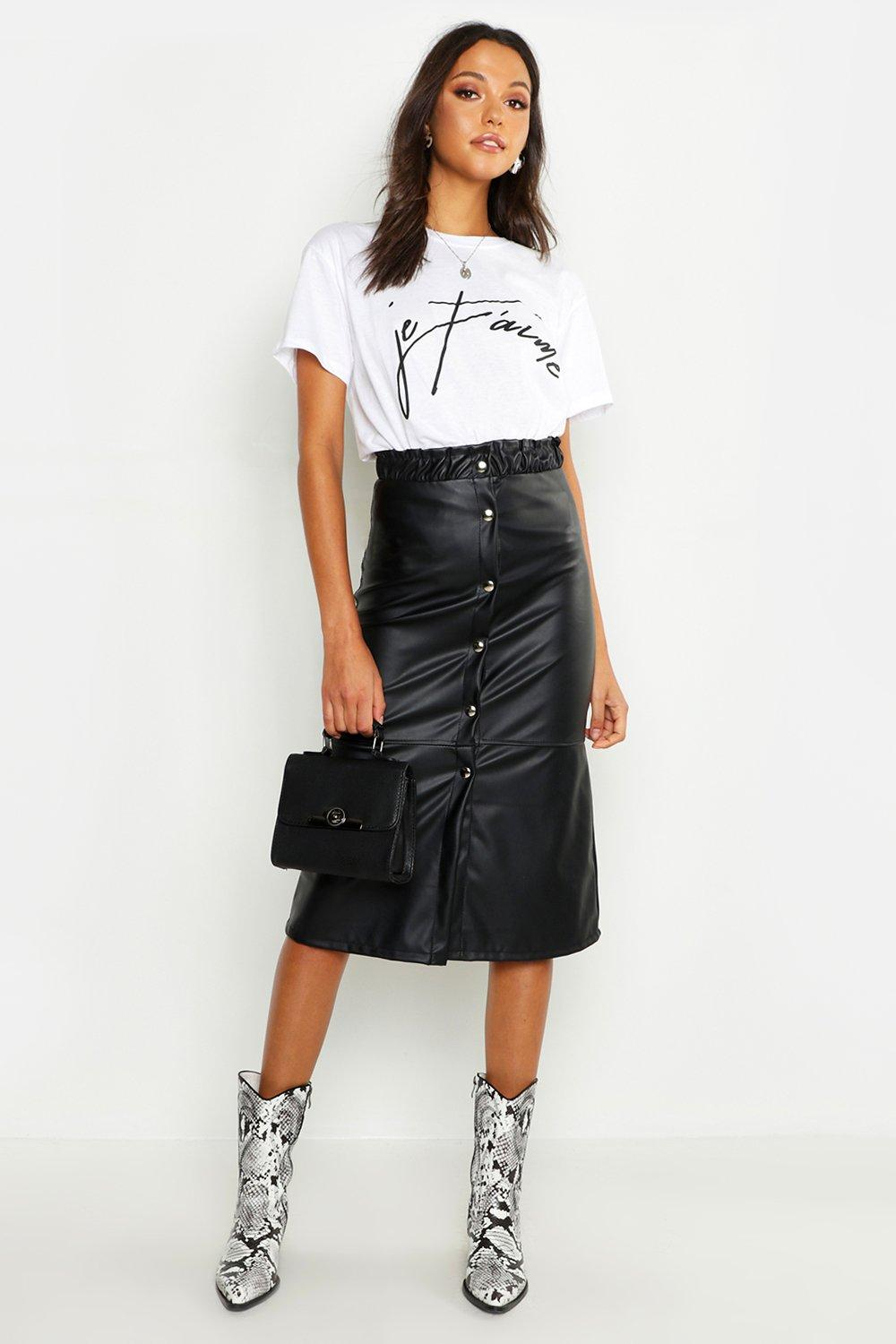 Tall Button Front Faux Leather Midi Skirt