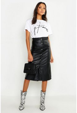 Womens Black Tall Button Front Faux Leather Midi Skirt