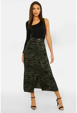 Womens Sage Tall Button Front Zebra Midi Skirt