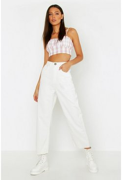 Womens Ecru Tall Cord Cropped Wide Leg Jeans