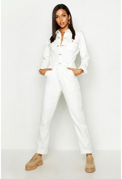 Womens Ecru Tall Utility Pocket Contrast Stitch Denim Boiler Suit