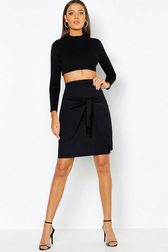 Black Tall Tie Front Skirt