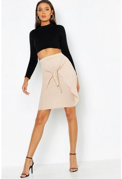 Womens Stone Tall Tie Front Skirt