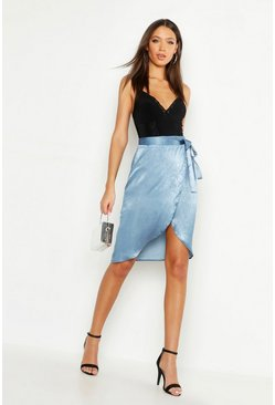 Womens Blue Tall Satin Wrap Midi Skirt