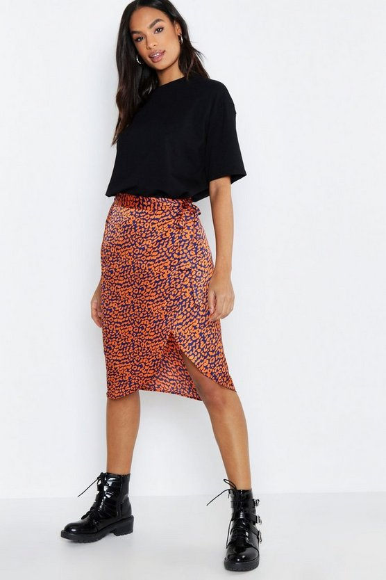 Tall Leopard Print Satin Wrap Midi Skirt