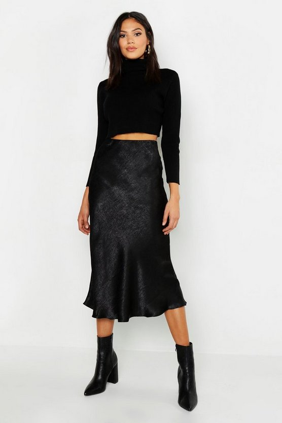 Womens Black Tall Bias Cut Satin Wrap Midi Skirt