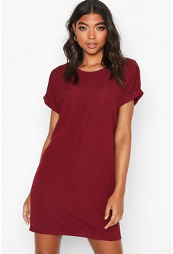 Womens Berry Tall Rib Oversized T-shirt Dress