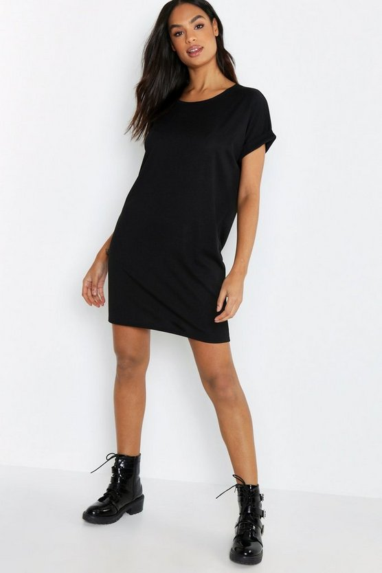 Womens Black Tall Rib Oversized T-shirt Dress