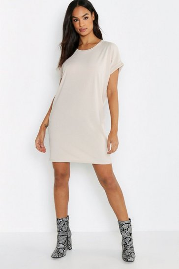 Womens Ecru Tall Rib Oversized T-shirt Dress
