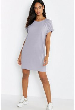 Tall geripptes oversized T-Shirt-Kleid, Grau, Damen