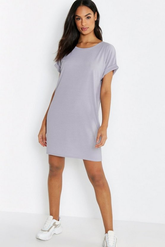 Womens Grey Tall Rib Oversized T-shirt Dress