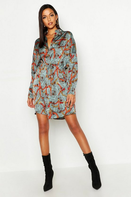 Womens Sage Tall Chain Print Shirt Dress