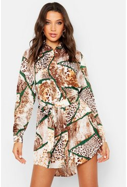 Womens Camel Tall Mixed Animal Print Shirt Dress