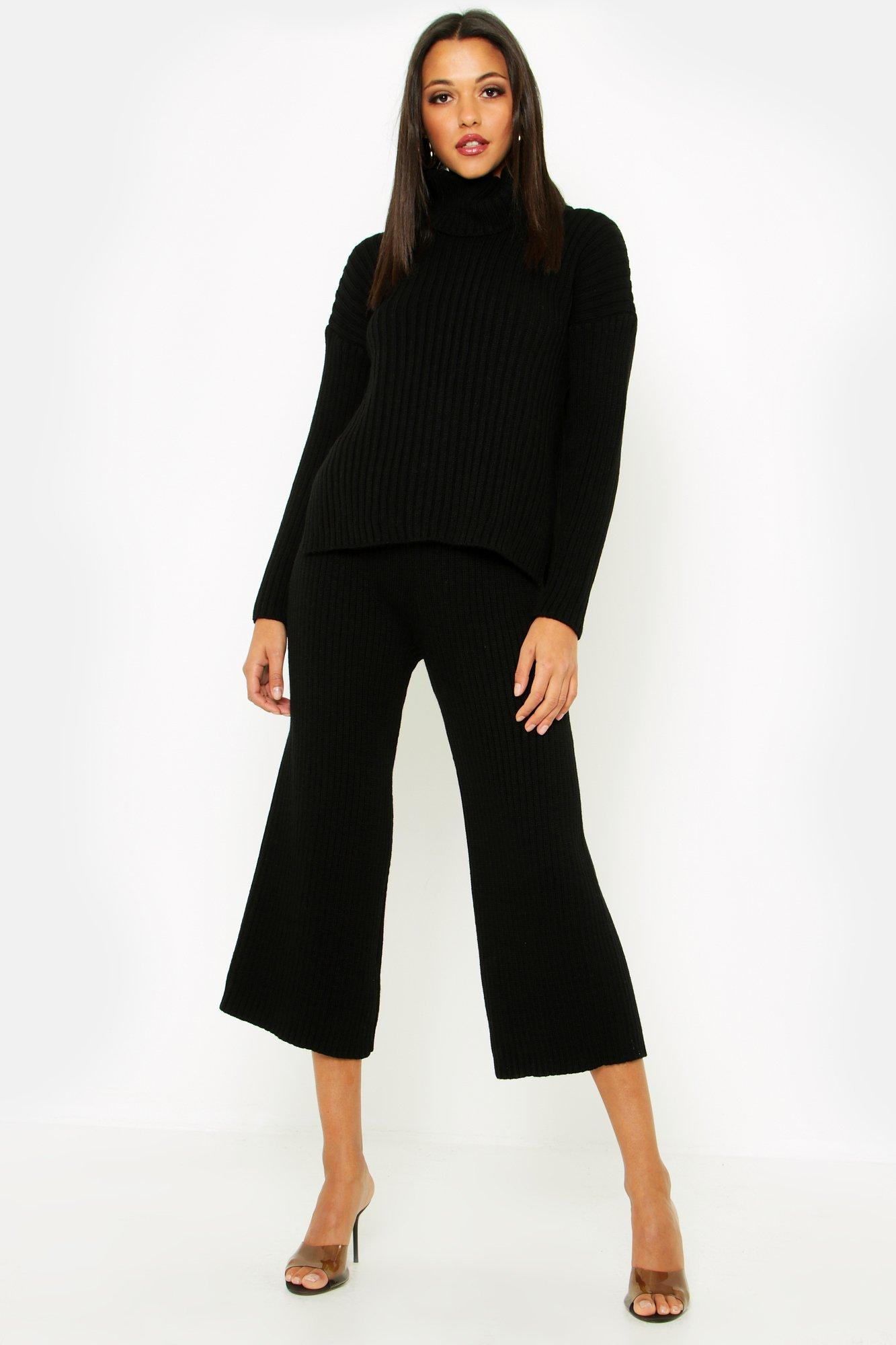 Tall Roll Neck Rib Knit Cullotte Co-Ord