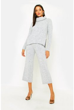 Womens Grey Tall Roll Neck Rib Knit Cullotte Co-Ord