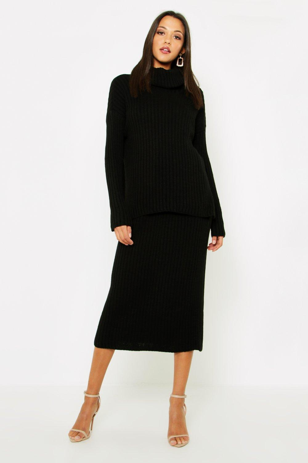 Tall Roll Neck Rib Knitted Skirt Co-Ord