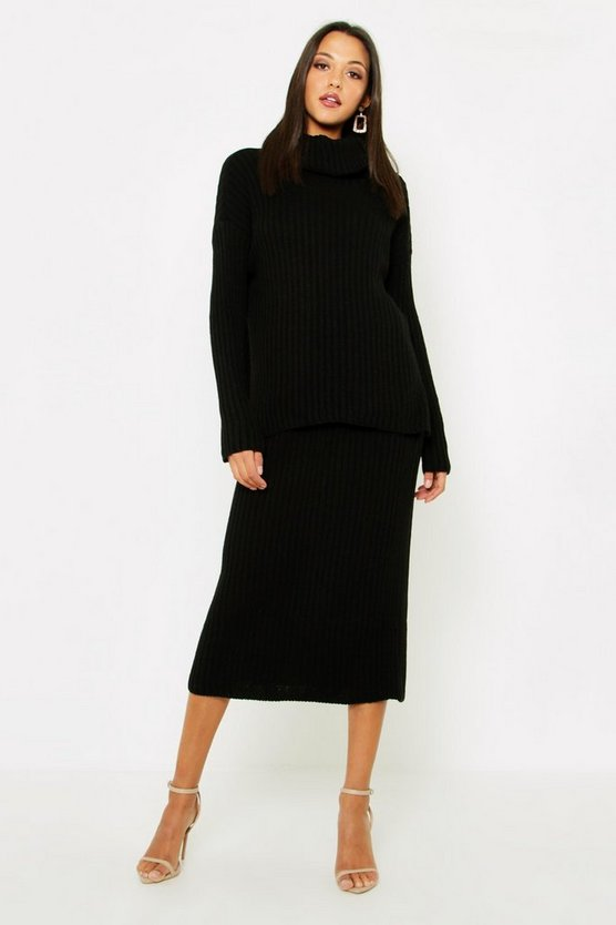 Black Tall Roll Neck Rib Knitted Skirt Co-Ord