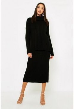 Womens Black Tall Roll Neck Rib Knitted Skirt Co-Ord