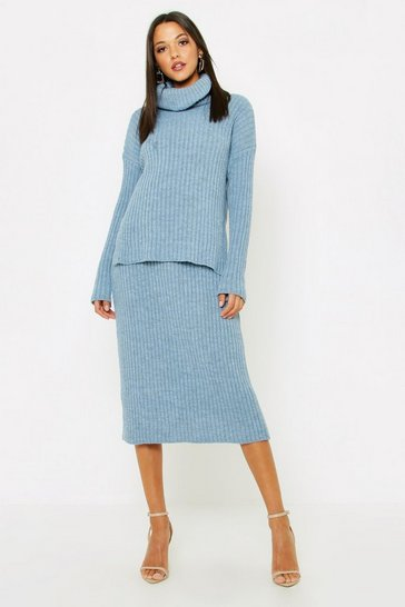 Womens Denim Tall Roll Neck Rib Knitted Skirt Co-Ord