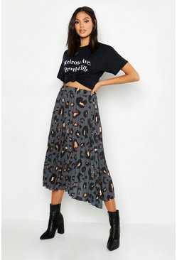 Womens Grey Tall Leopard Print Pleated Midi Skirt