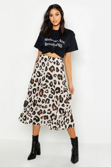 Tan Tall Leopard Print Pleated Midi Skirt