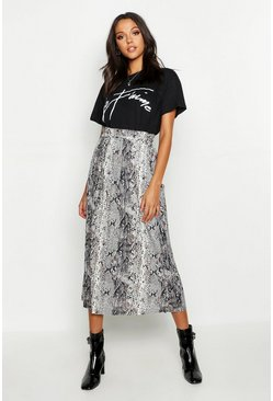 Stone Tall Pleated Snake Print Midi Skirt
