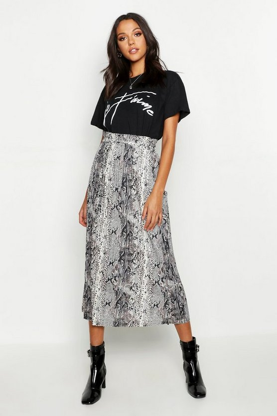 Tall Pleated Snake Print Midi Skirt