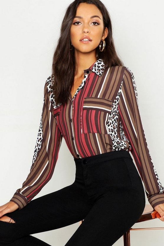 Womens Chocolate Tall Animal Stripe Mix Print Shirt