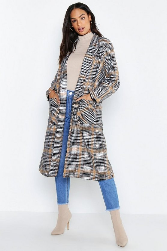 Womens Camel Tall Check Wool Look Coat