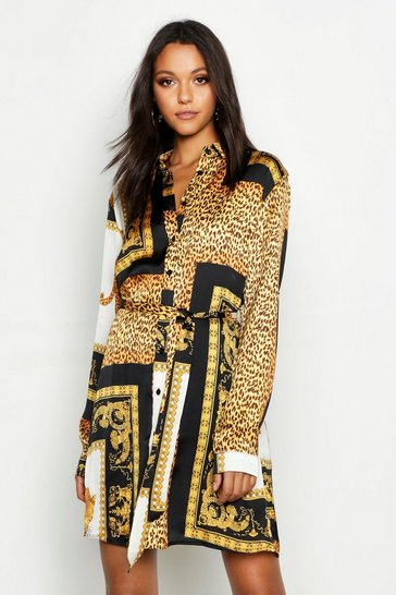 Womens Black Tall Scarf Print Shirt Dress
