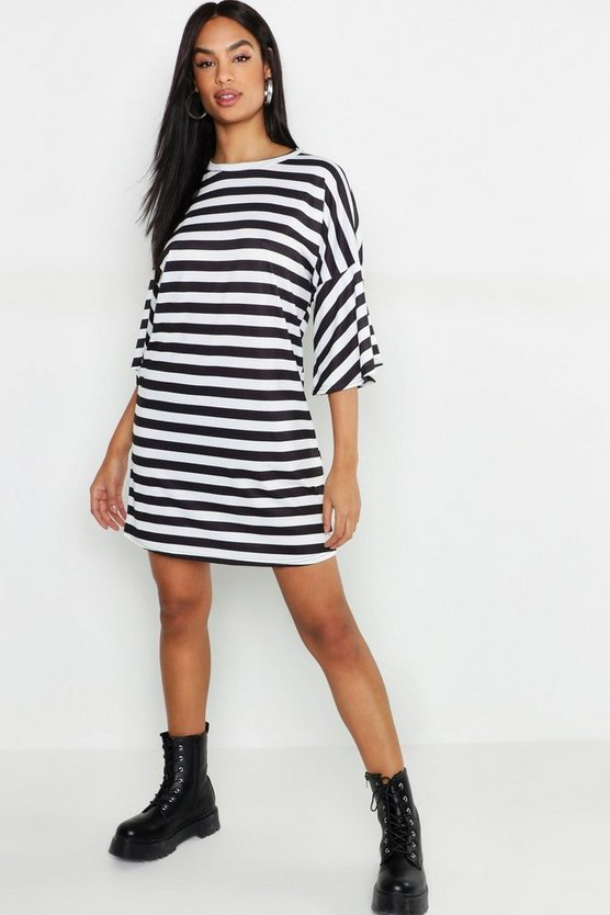 Womens Black Tall Stripe T-Shirt Dress