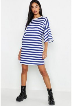 Womens Navy Tall Stripe T-Shirt Dress