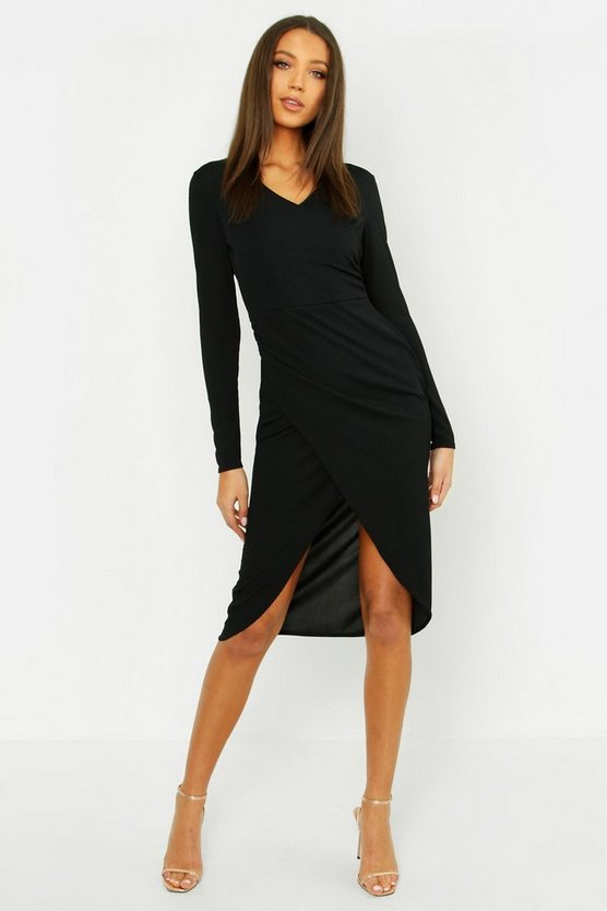 Womens Black Tall Rib Wrap Midi Dress