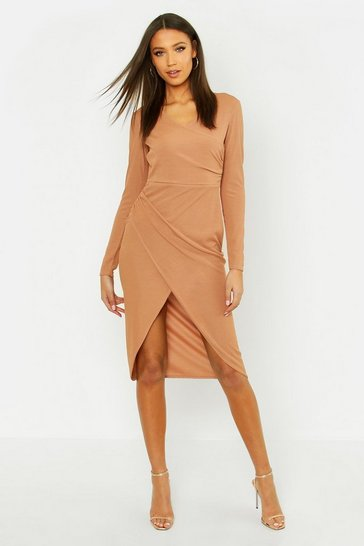 Womens Camel Tall Rib Wrap Midi Dress