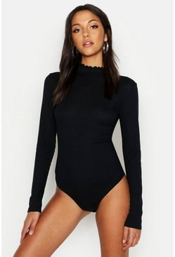 Womens Black Tall Rib Knit Neck Lettuce Hem Bodysuit