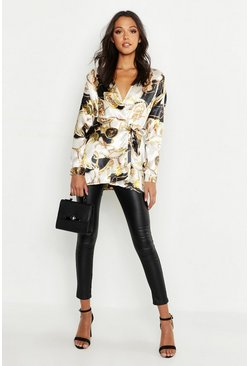 Womens Ivory Tall Satin Chain Print Wrap Shirt