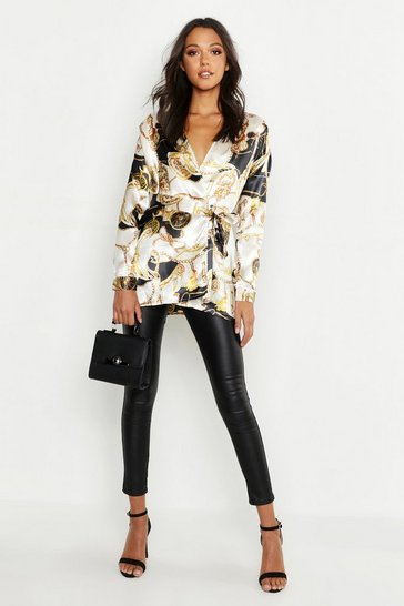 Ivory Tall Satin Chain Print Wrap Shirt