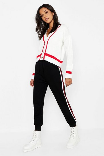 Womens White Tall Sports Trim Mock Horn Button Crop Cardigan