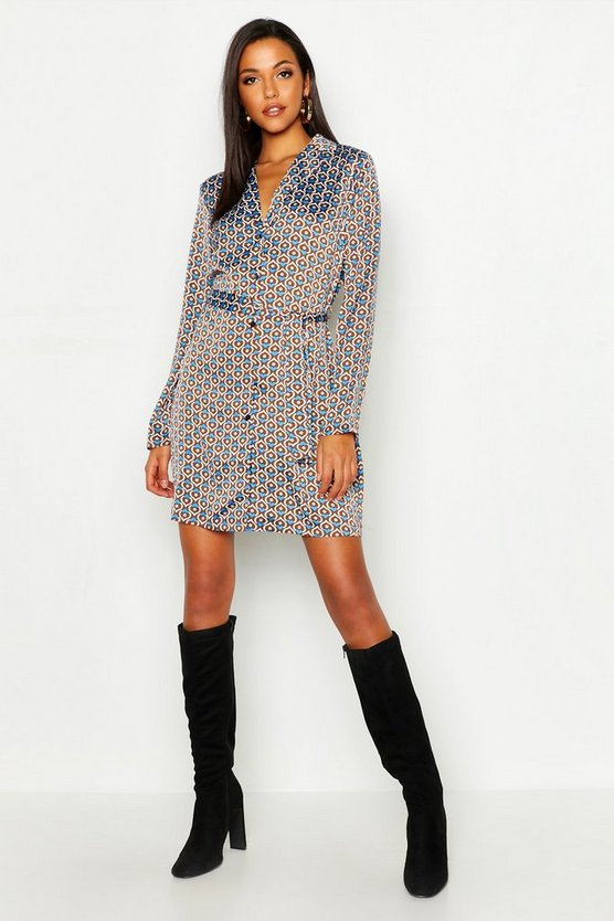 Tall Geo Print Belted Shirt Dress