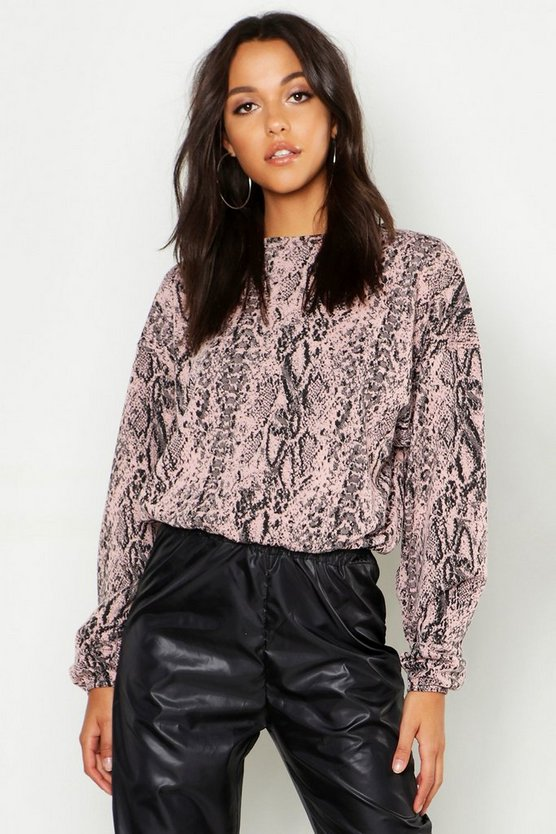 Womens Pastel pink Tall Snake Print Sweat