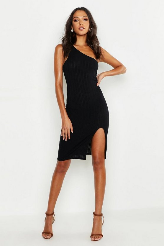 Womens Black Tall One Shoulder Split Ribbed Mini Dress